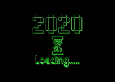 Happy new year 2020 with loading icon pixel art bitmap style. Progress bar almost reaching new year's eve. Green Vector flat design 2020 loading pixel hourglass cursor. Isolated or black background