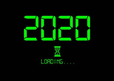 Happy new year 2020 with loading icon green neon digital style. Progress bar almost reaching new year's eve. Green Vector flat design 2020 loading pixel hourglass cursor. Isolated or black background