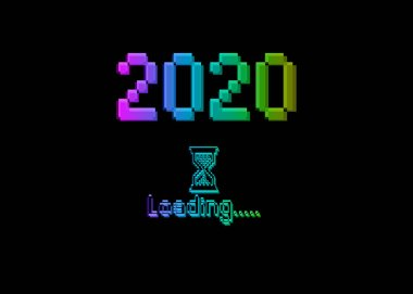 Happy new year 2020 with loading icon pixel art bitmap style. Progress bar almost reaching new year's eve. colorful Vector flat design 2020 loading pixel hourglass cursor. Isolated or black background