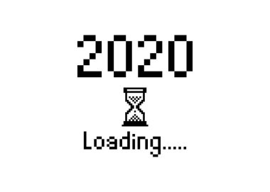 Happy new year 2020 with loading icon pixel art bitmap style. Progress bar almost reaching new year's eve.  Vector flat design 2020 loading pixel hourglass cursor. Isolated or white  background