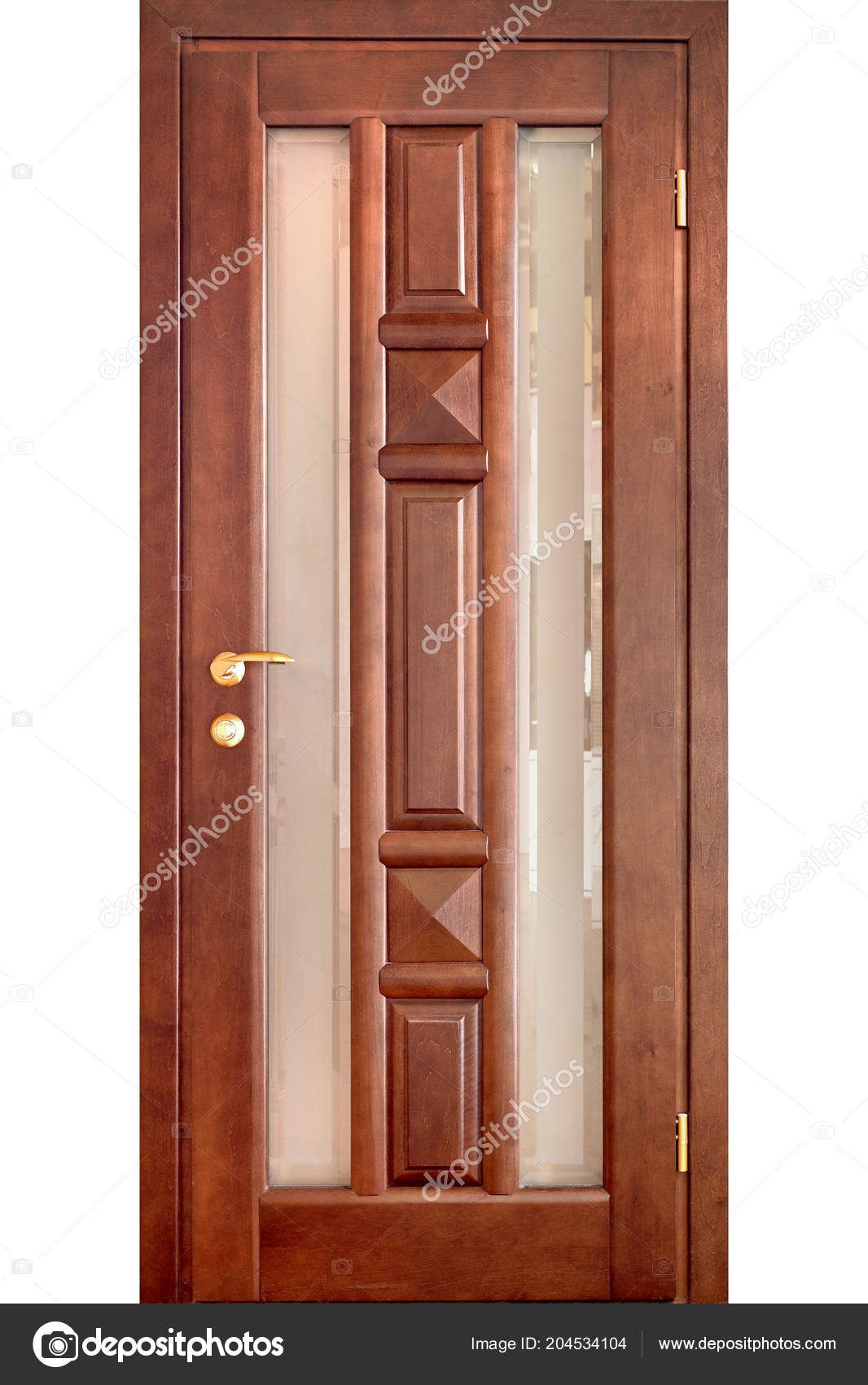 Wooden Interior Door Cherry Wood Brass Handle Insets Frosted Glass U2014 Stock  Photo