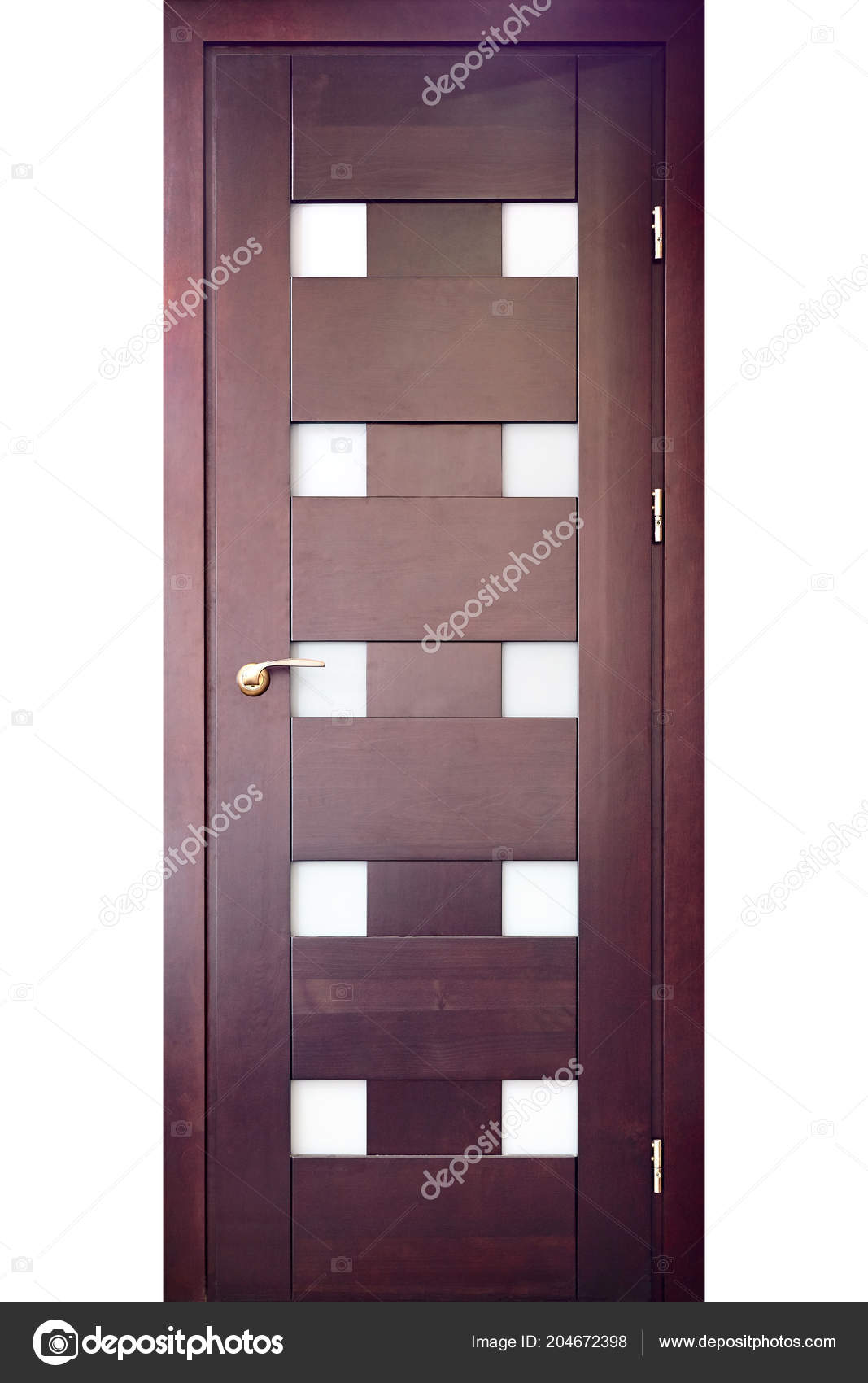 Wooden Interior Door Red Oak Brass Handle Insets Frosted Glass