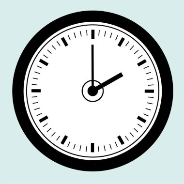 Wall or table clock. Vector illustration. Round classic design. Time in hours and minutes. icon