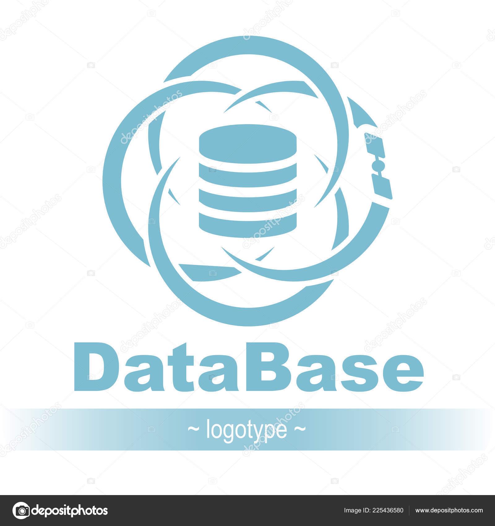 Database Icon Simple Flat Logo Database Orbit Satellite