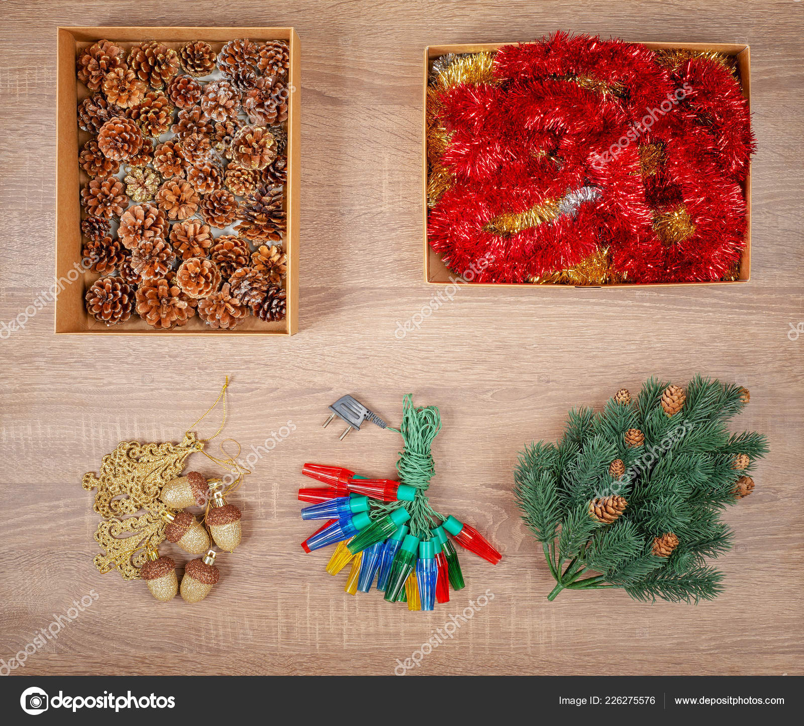 Traditional Christmas Tree Decorations Including Baubles Fir Cones Stock Photo C Mankukuku 226275576