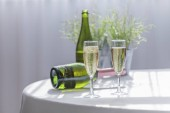 luxuriöser und spritziger Champagner, serviert in zwei eleganten Urlaubsgläsern mit zwei Flaschen im Hintergrund. Konzept der Feier.