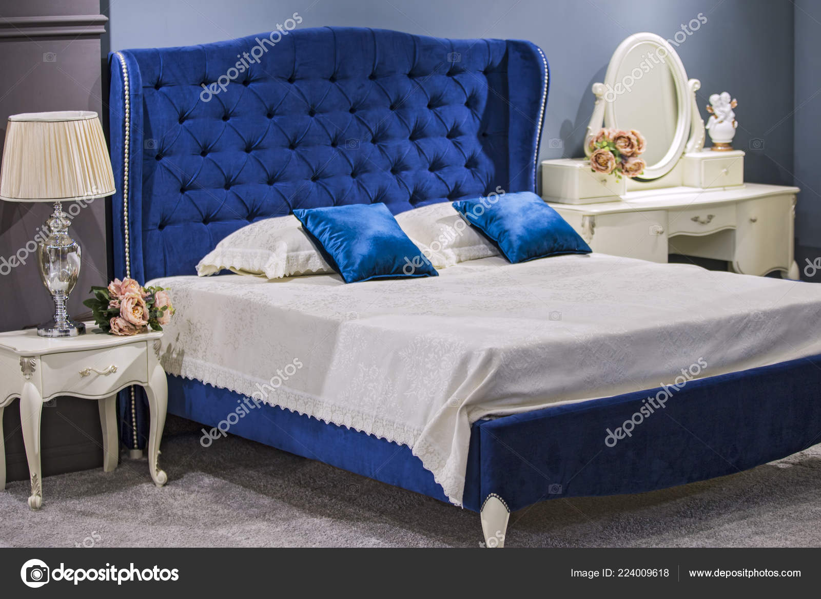 Luxury Royal Bedroom Antique Style Blue Velvet Bed White Nightstand Stock Photo Image By C Olga Prava 224009618