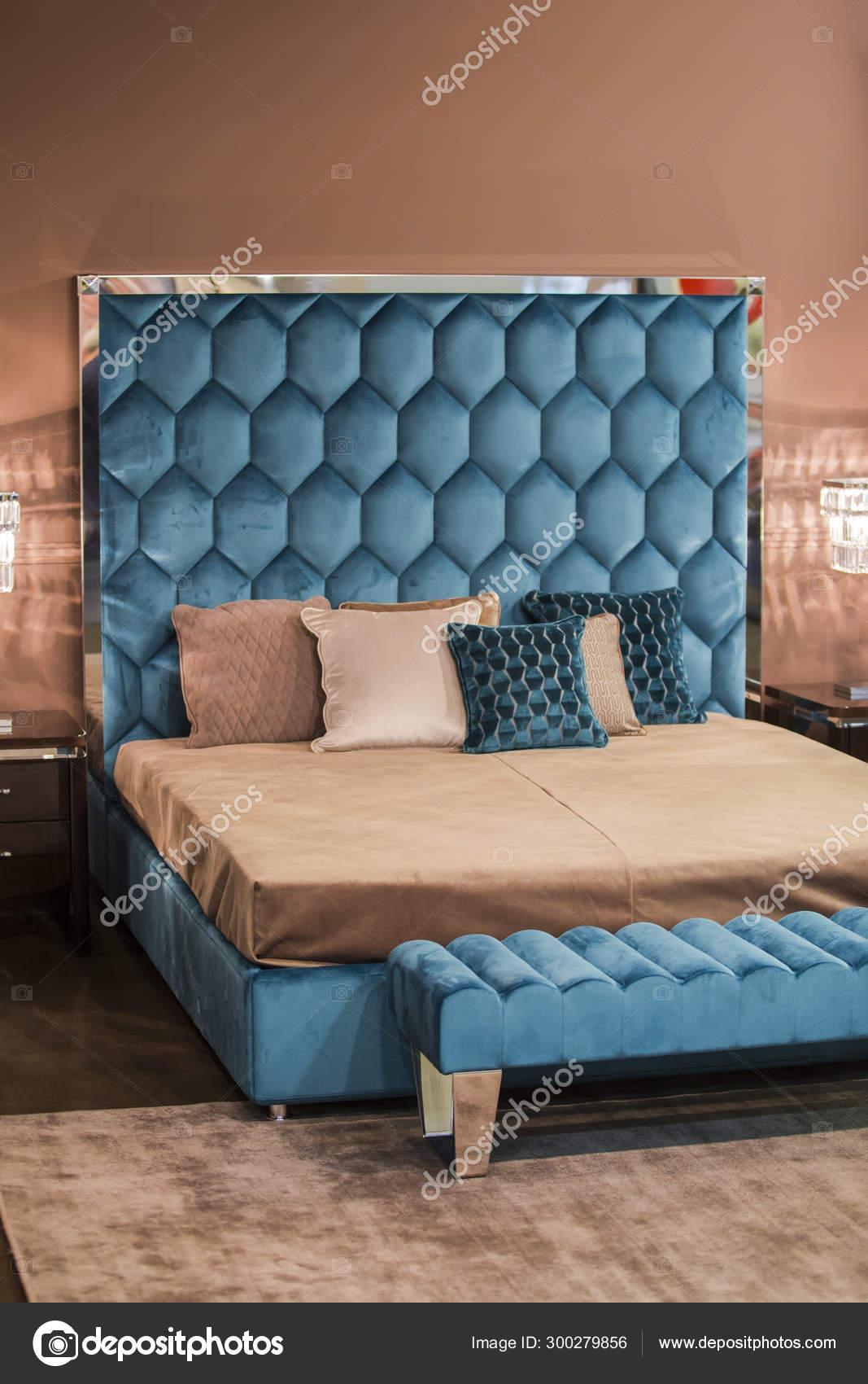 Modern Interior Blue Velvet Bed In Art Nouveau Style Crystal Gold Chandeliers Pink Walls Stock Photo C Olga Prava 300279856