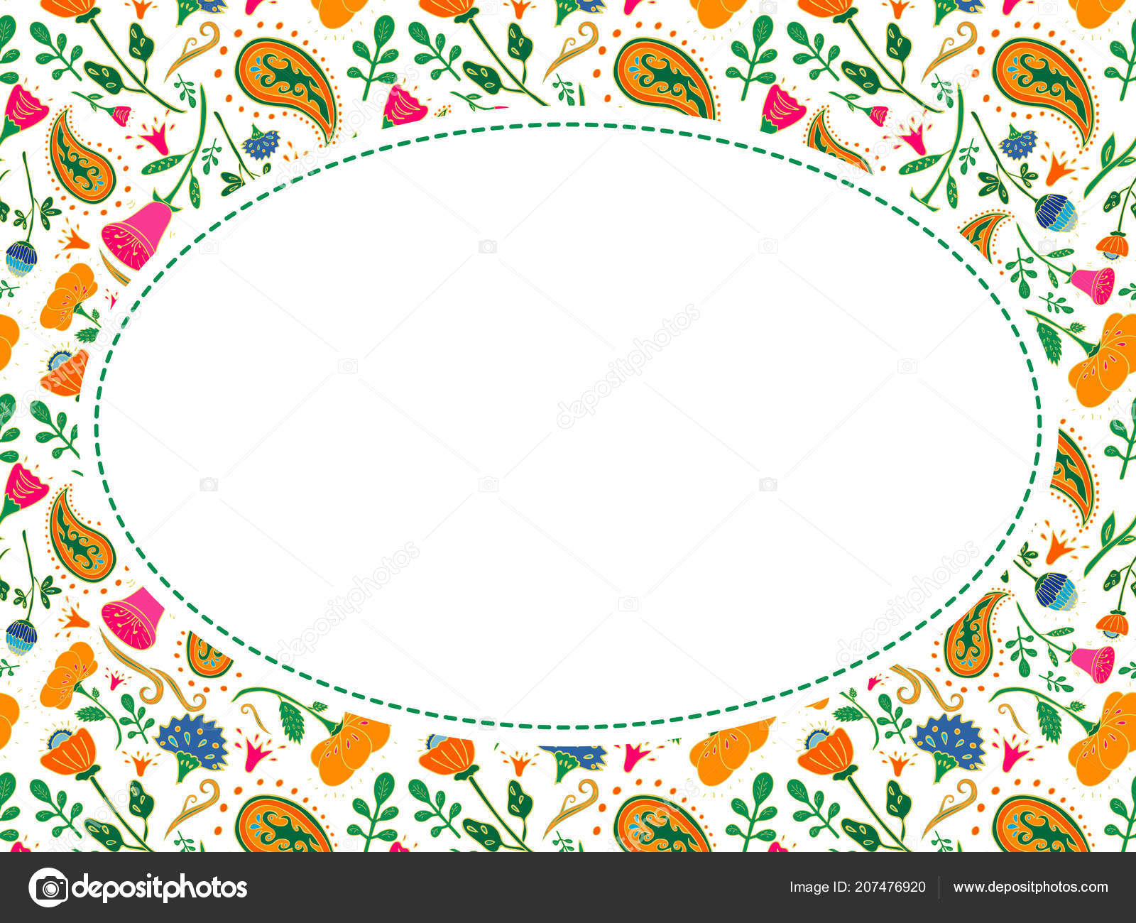 Oval Vector Flower Frame Place Your Text Template Wedding ...