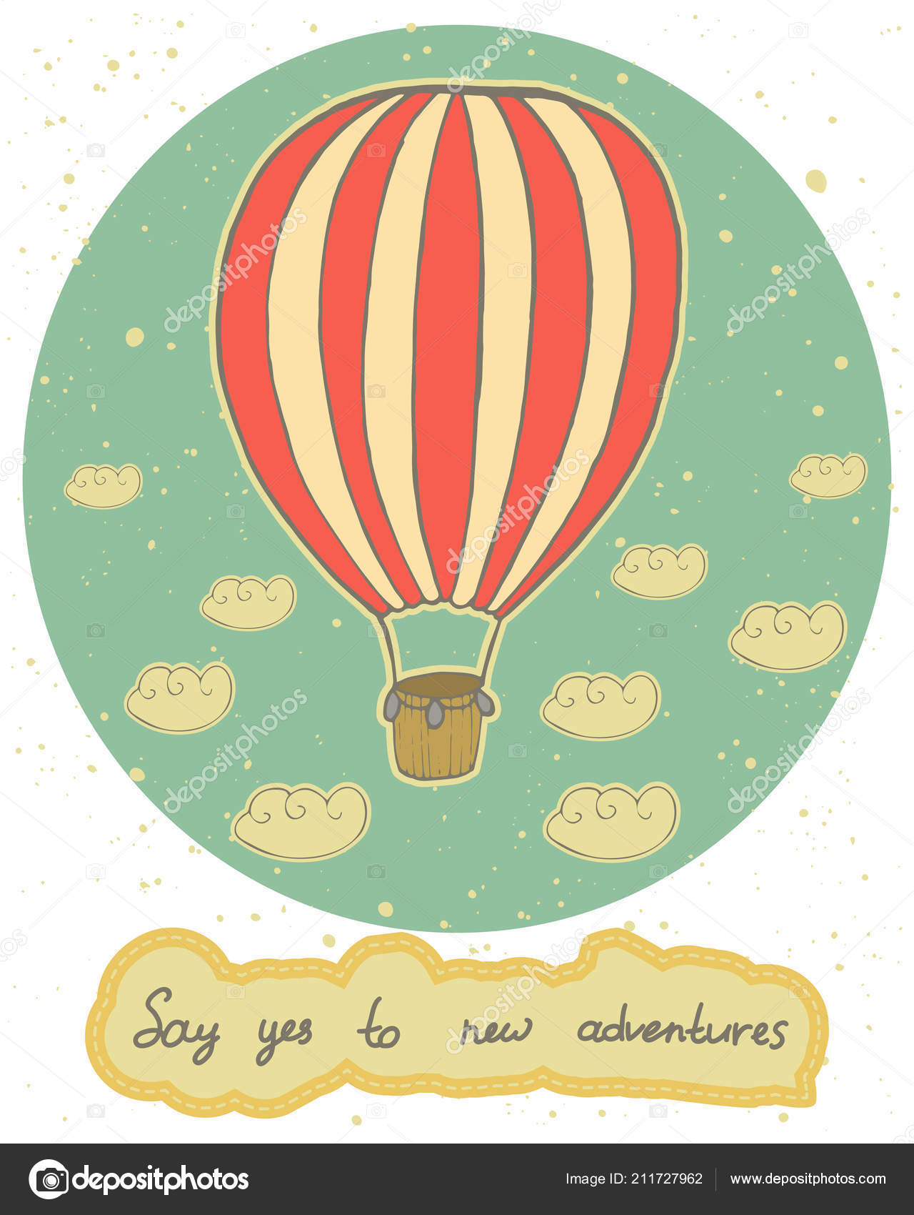 Vintage Card Red White Hot Air Balloon Lettering Handwritten Quote