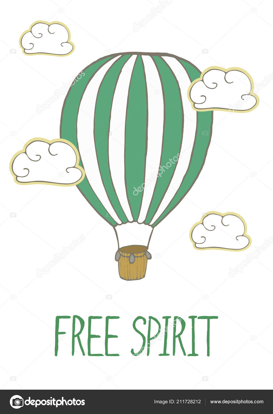 Green Striped Hot Air Balloon Flying Clouds Positive Quote Free