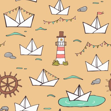 Nautical seamless vector pattern
