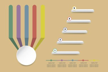 Colorful empty infographic of stairs showing the five steps of process. Color labels converge vertically into an empty white circle  ready for your text. All on the light brown background.
