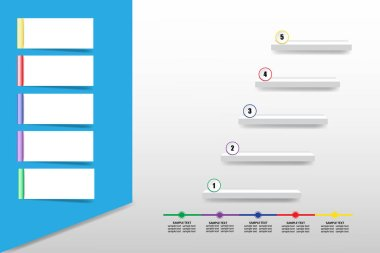 Infographic of bevelled rectangle with blank labels ready for your text and stairs and timeline showing the five steps of process.