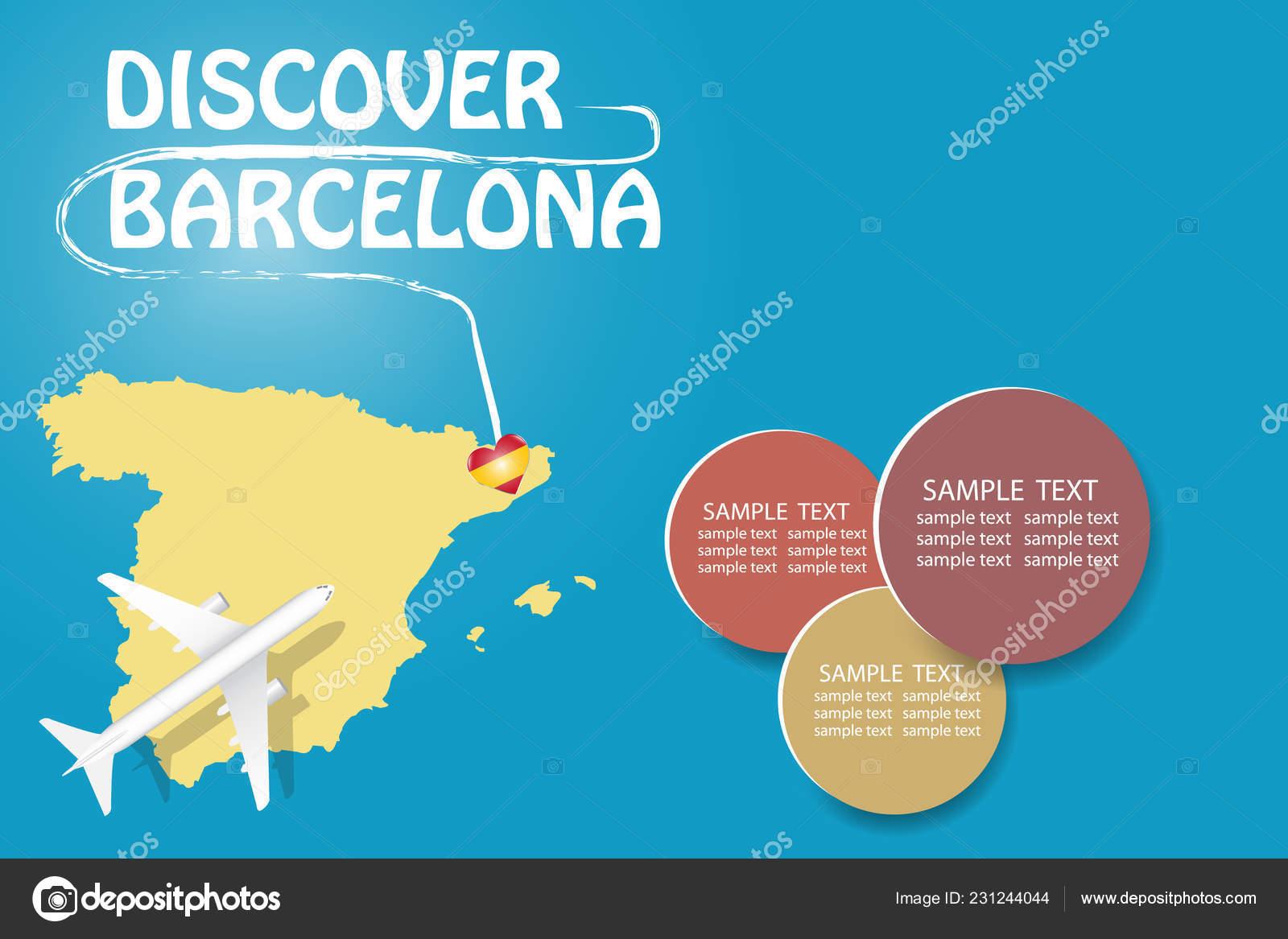 Carte De Lespagne Barcelone.Decouvrez Modele Vierge Barcelone Avec Avion Volant Carte Espagne