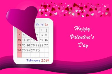 Happy Valentine's Day vector with pink hearts and calendar sheet with bent pink heart showing number 14  on the left side. All is on a trendy pink background