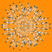 Snowflake in hand drawing style with blue gradient on orange background. For the design of the theme of the holidays, printing cards, invitations, business cards. Abstract background for site.