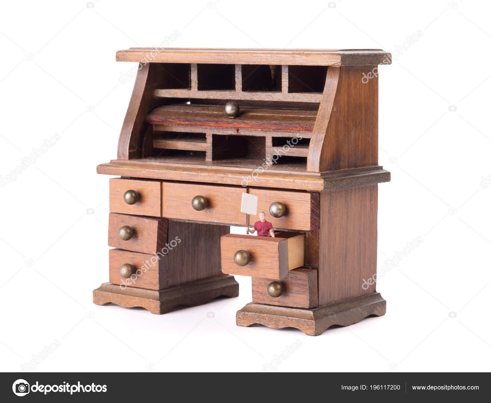 Petit bureau bois vintage homme petite taille avec soupir clean