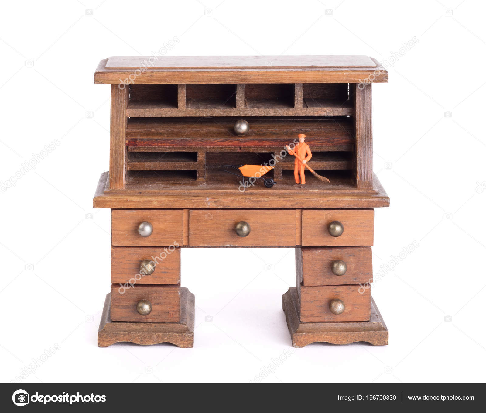 Small Vintage Wooden Desk Man Cleaning Clean Policy Stock Photo