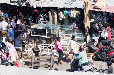 Antananarivo, Madagascar - August 5, 2019: Shops in the street o
