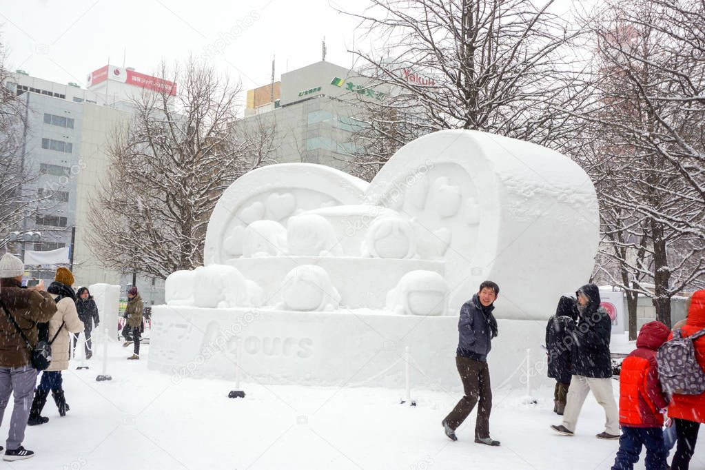 Supporo, Hokkaido, Japan 12 February 2018 : Cartoon character made by snow. One of medium-sized snow sculptures s in the contest and show at the Supporo Snow Festival 2018 in Odori park.