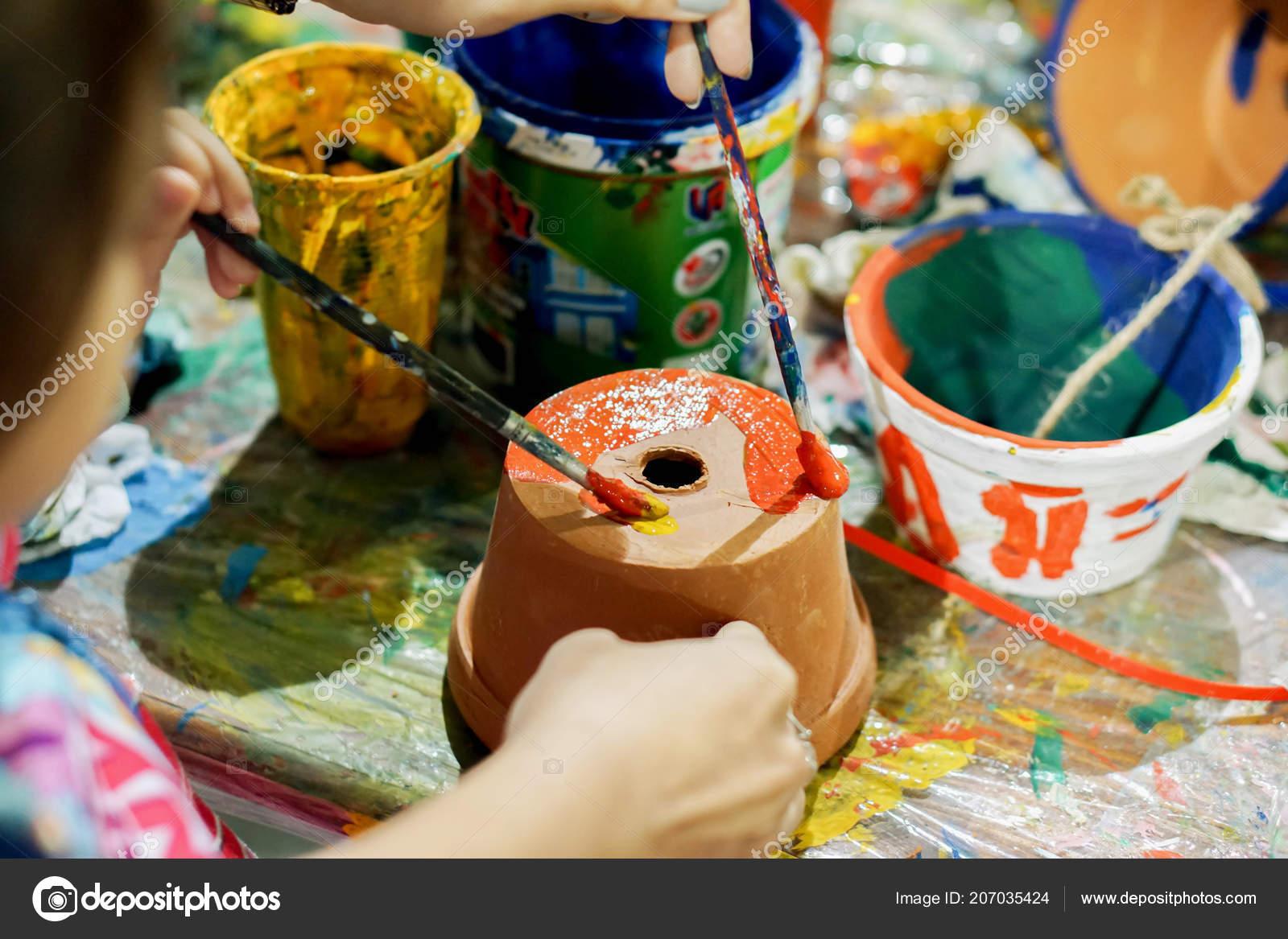 étude Petite Asiat Peinture Sur Pot Fleurs école Art Son