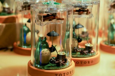Otaru, Japan, February 16, 2018 : Closeup music box of My Neighbor Totoro character for sell and show in souvenir shop. Totoro is one of the most popular anime Under the production of Studio Ghibli.
