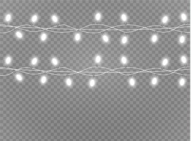 Christmas lights isolated realistic design elements. Glowing lights for Xmas Holiday cards, banners, posters, web design. Garlands decorations. Led neon lamp.