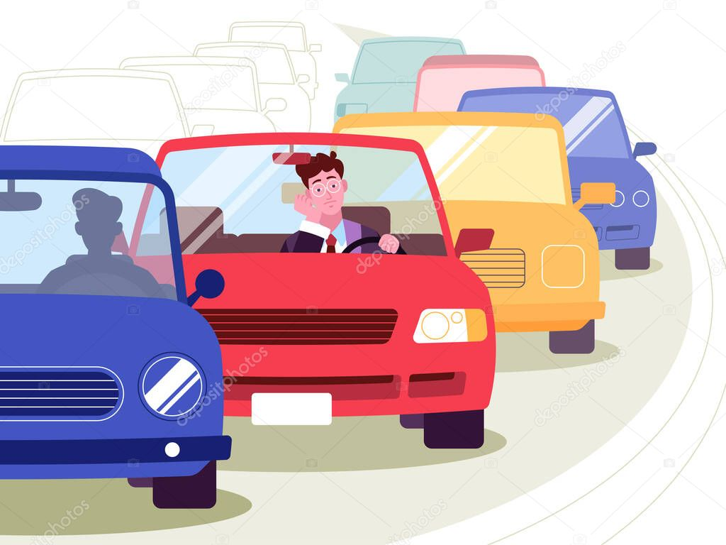 This Colorful Illustration Depicts A Young Man He Is In A Traffic Jam That Formed On The Road He Is A Bad Mood Premium Vector In Adobe Illustrator Ai Ai