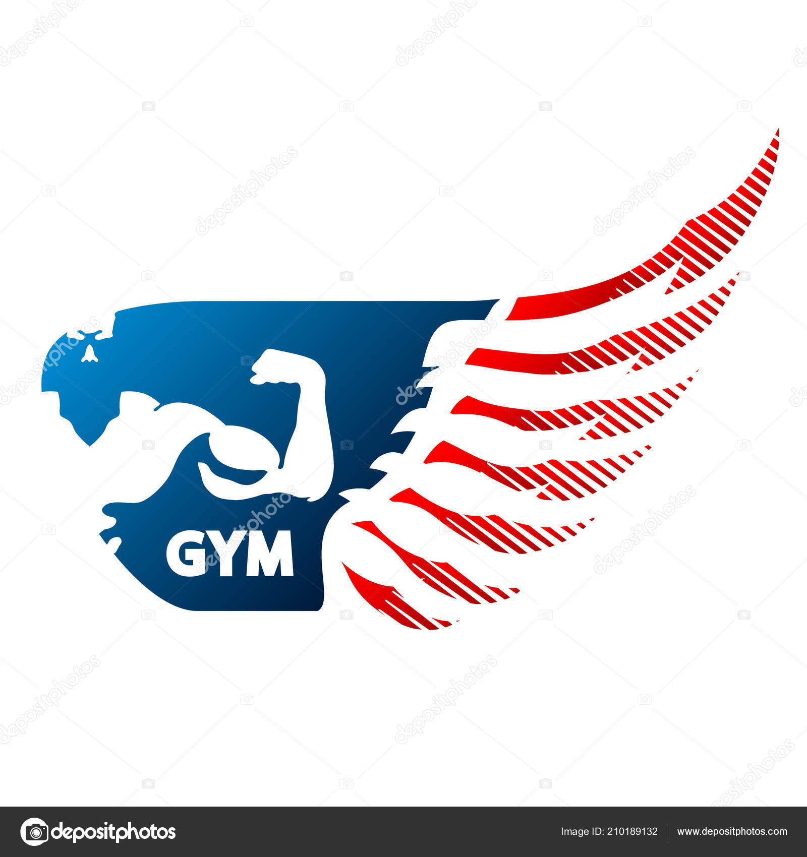 Bodybuilder Wing Symbol Gym Fitness Stock Vector John1279 210189132