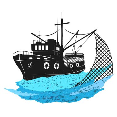 Download Fishing Boat With Nets Free Vector Eps Cdr Ai Svg Vector Illustration Graphic Art