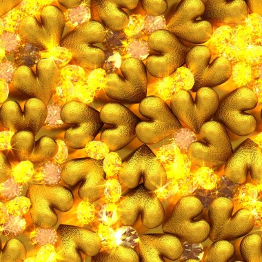 Seamless background of golden hearts and shiny yellow diamonds