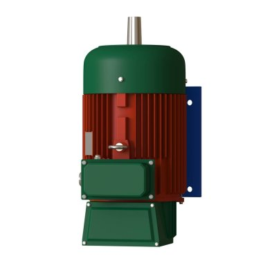 Electric motor on a white background, isolate.. 3D rendering of excellent quality in high resolution. It can be enlarged and used as a background or texture.