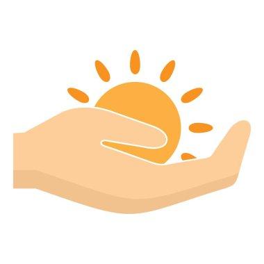 Sun in hand logo, flat style