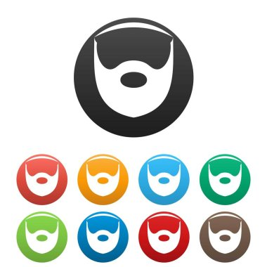 Hipster beard icons set color vector