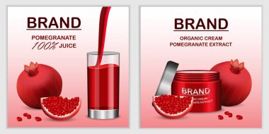 Pomegranate juice seed banner set, realistic style