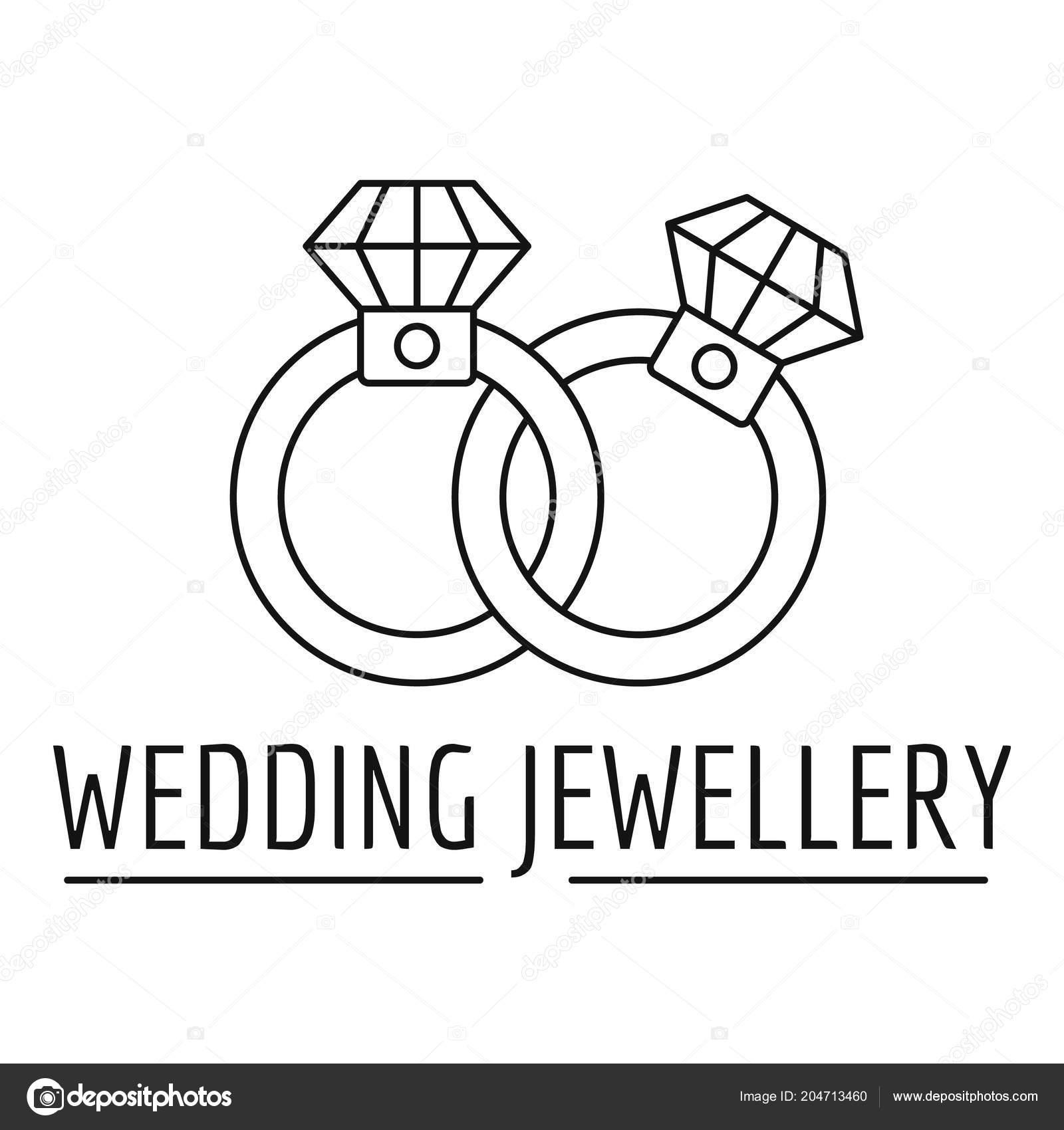 Wedding Rings Jewelry Logo Outline Style Stock Vector C Anatolir