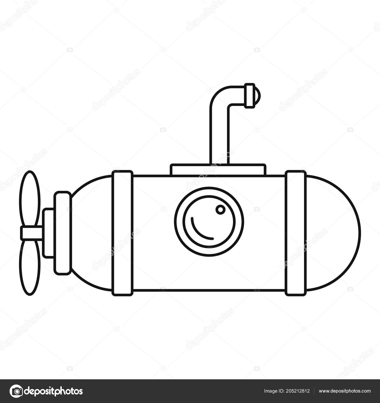 Small submarine icon, outline style — Stock Vector © anatolir #205212812