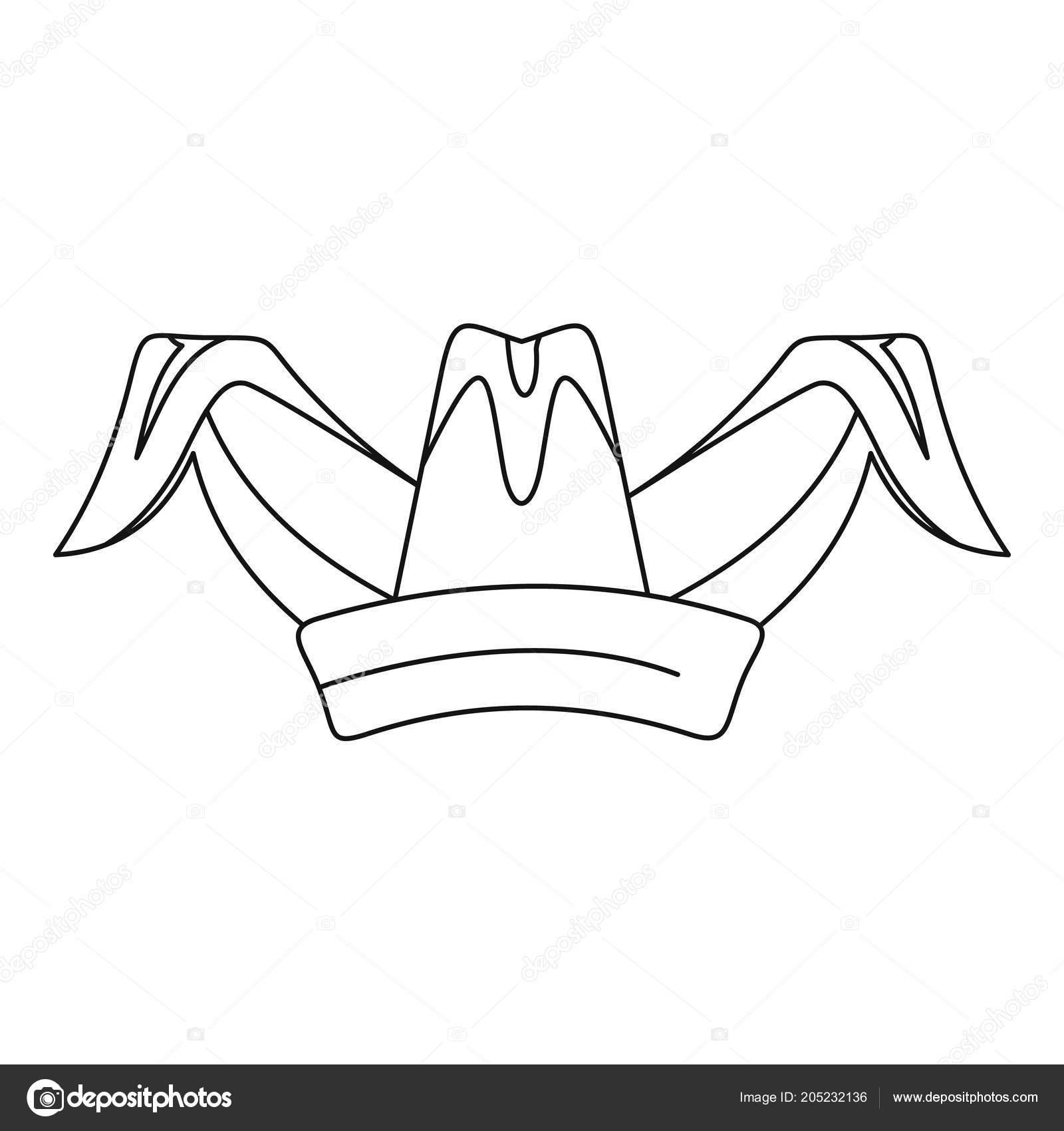 Icono de gorro de bufón. Ilustración de esbozo de icono de vector de  sombrero de bufón para diseño web aislado sobre fondo blanco — Vector de  anatolir 6ed9eeb9e99