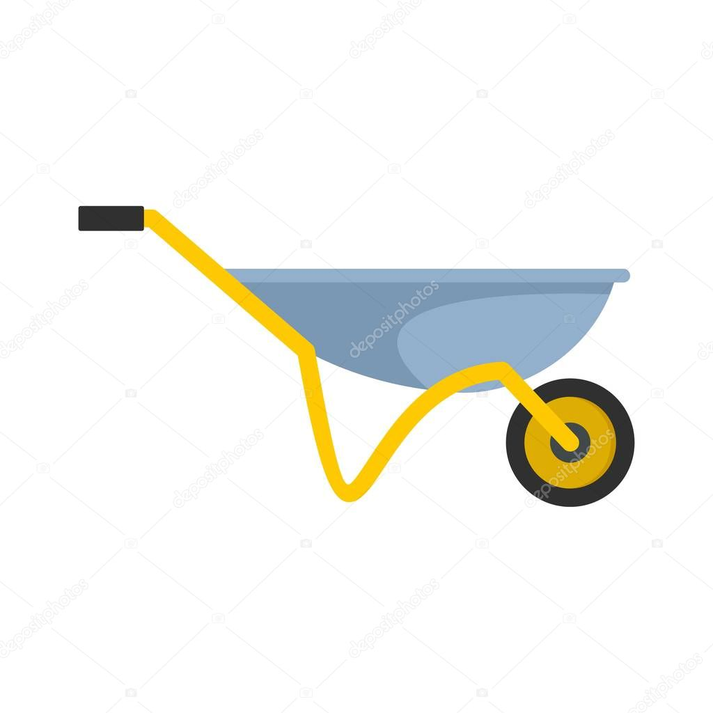 House wheelbarrow icon, flat style