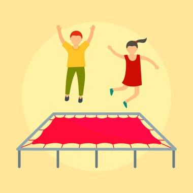 Children on trampoline background, flat style