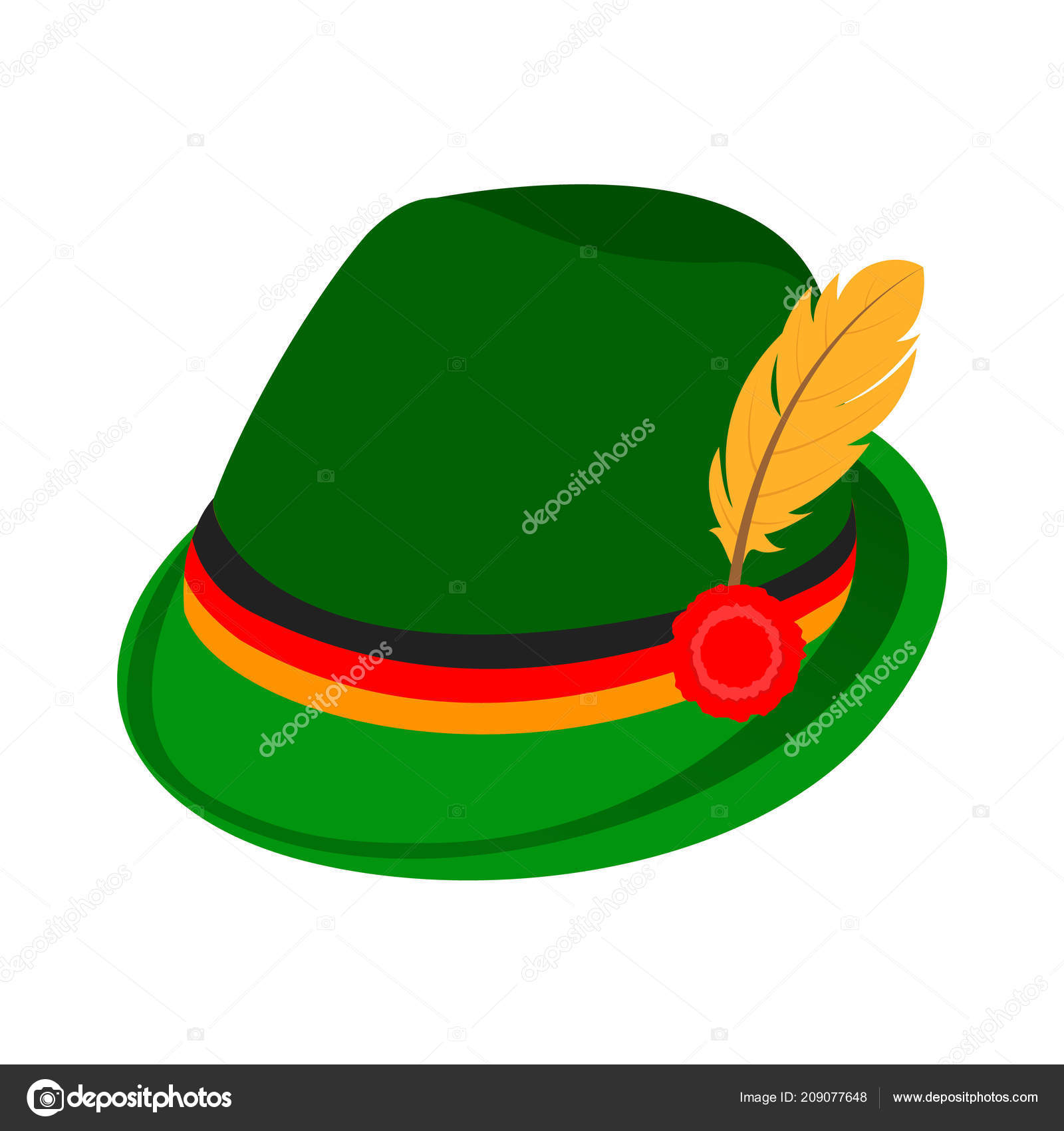 9744f2a4848 Green traditional german hat icon. Isometric of green traditional german  hat vector icon for web design isolated on white background — Vector by  anatolir