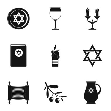 Theism icons set, simple style