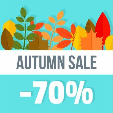 Big autumn final sale background, flat style