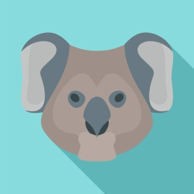 Koala head icon, flat style