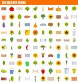 Fotografie 100 garden icon set, flat style