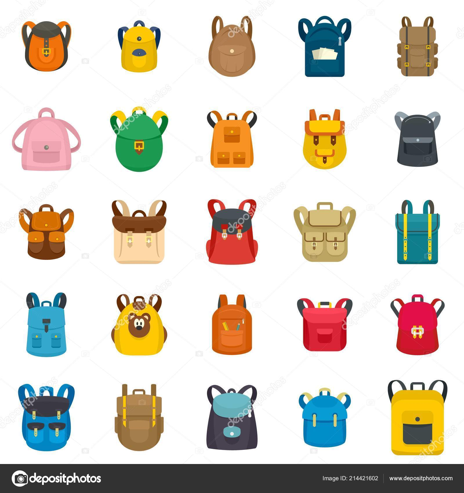 3a38a35a5f09 Backpack school travel sport icons set