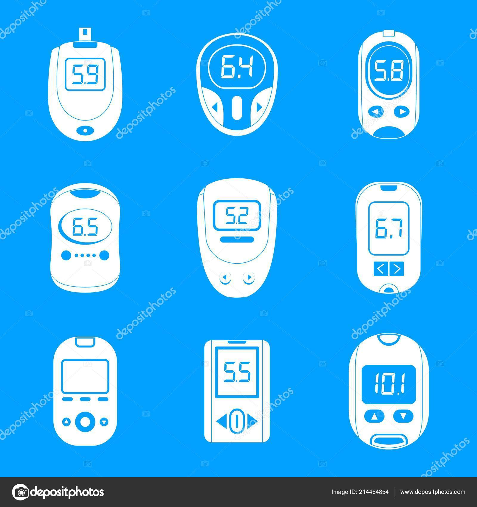 Glucose Meter Sugar Test Icons Set Simple Style Stock