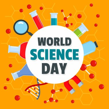 World science day concept background, flat style