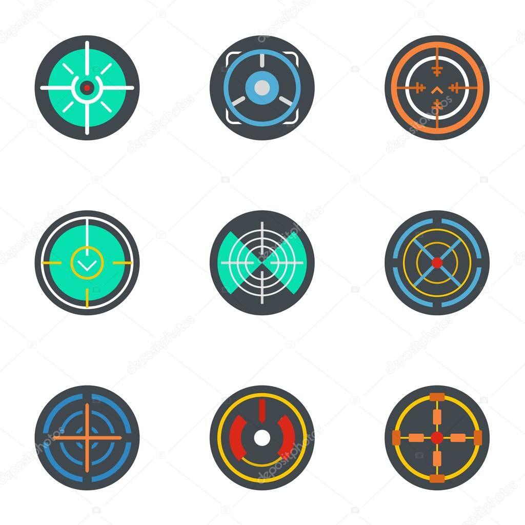 sniper aim icon set flat set of 9 sniper aim vector icons for web design premium vector in adobe illustrator ai ai format encapsulated postscript eps eps format wdrfree